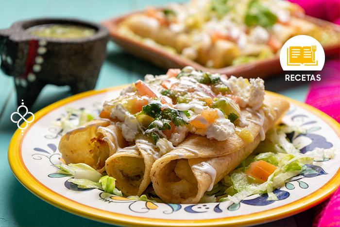 Tacos dorados de papa caseros